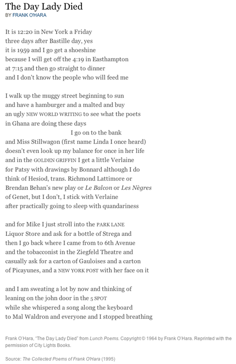 The day lady died by frank o hara