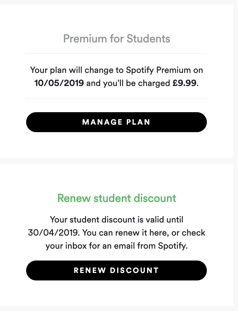 How to update spotify student discount
